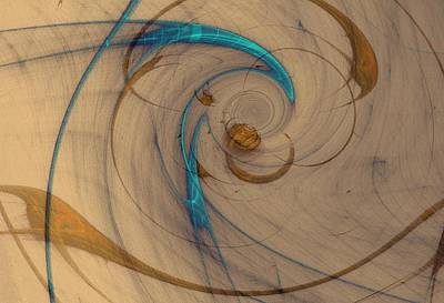 Digital Art - Turquoise Spiral by David Jenkins