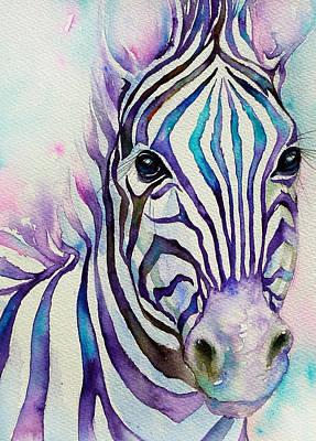 Turquoise Stripes Zebra Art Print