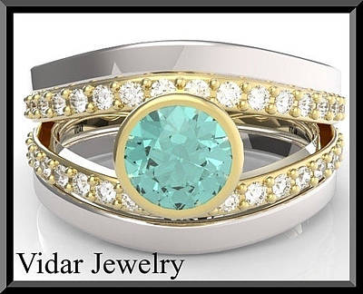 14k Gold Jewelry - Turquoise Tourmaline And Diamond Wedding Ring And Engagement Ring Set by Roi Avidar
