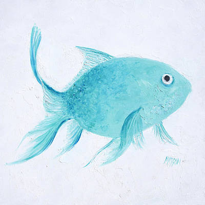 Tropical Fish Painting - Turquoise Tropical Fish by Jan Matson