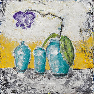Painting - Turquoise Vases And Purple Orchid Still Life by Ben Gertsberg