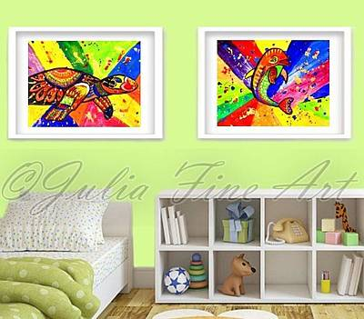 Julia Child Painting - Turtle And Dolphin Pop Art by Julia Fine Art And Photography