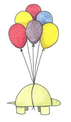 Balloons Drawing - Turtle Balloon by Christy Beckwith