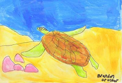 Art Print featuring the painting Turtle by Artists With Autism Inc