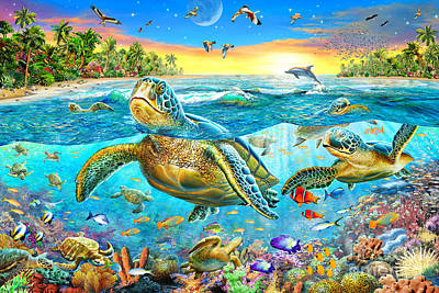 Underwater Seascape Digital Art - Turtle Cove by Adrian Chesterman