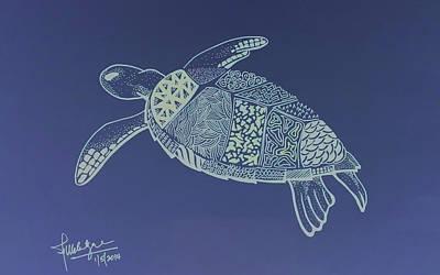Sea Turtles Drawing - Turtle by Debbie McIntyre