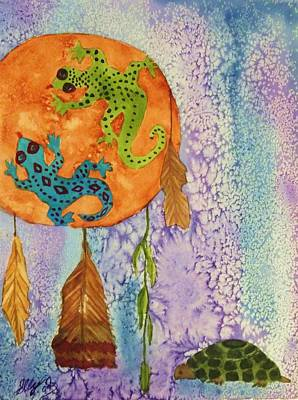 Visionary Art Painting - Turtle Dreaming Lizard by Ellen Levinson