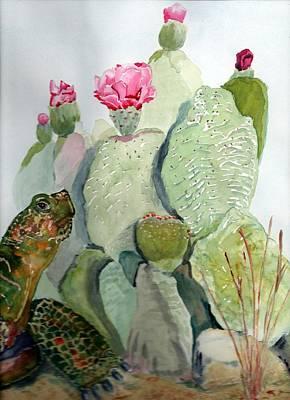 Turtle Gazing Upon Dessert Art Print by Joann Perry