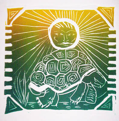 Relief - Turtle In The Sun by Sarah Reed