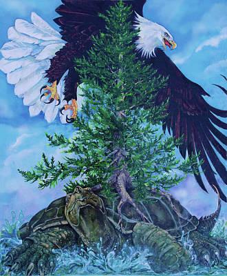 Oneida Painting - Turtle Island by Derrick Higgins