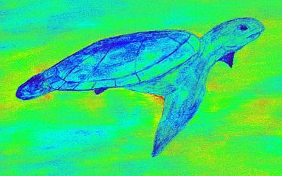Turtle Life - Digital Ink Stamp Green Art Print by Brett Smith