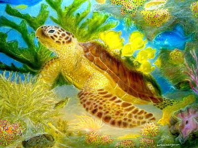 Turtle On Reef Art Print