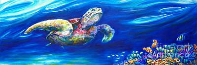 Fish Underwater Painting - Turtle Reef by Deb Broughton