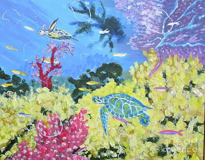 Painting - Turtles Aswimmin by Phyllis Kaltenbach
