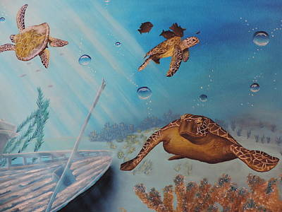 Art Print featuring the painting Turtles At Sea by Dianna Lewis