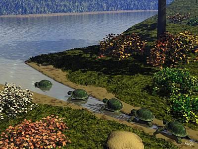 Digital Art - Turtles by John Pangia