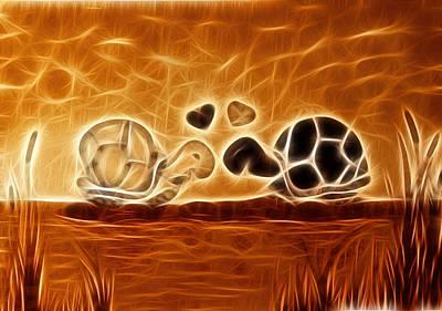 Turtles Love Fractalius Art Print