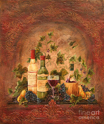 Wine Glass Painting - Tusacn Treasures by Jean Plout