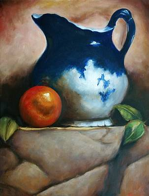 Painting - Tuscan Blue Pitcher Still Life by Melinda Saminski