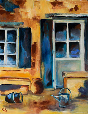 Pottery Painting - Tuscan Courtyard by Elise Palmigiani