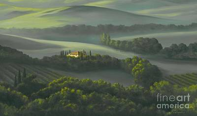 Chianti Vines Painting - Tuscan Daybreak by Michael Swanson