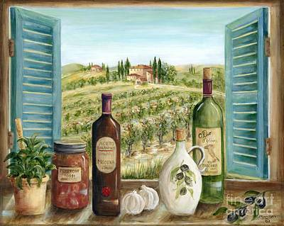 Wine Oil Painting - Tuscan Delights by Marilyn Dunlap
