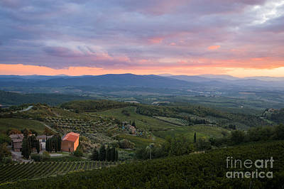 Tuscan Farmhouse Landscape In Evening Light Print by Peter Noyce