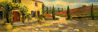 Italy Farmhouse Painting - Tuscan Fields by Allayn Stevens