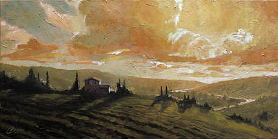 Tuscany Vineyard Oil Painting - Tuscan Glow II by Christopher Clark