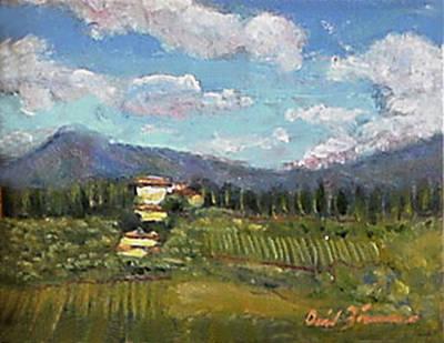 Tuscany Vineyard Oil Painting - Tuscan Hills by David Zimmerman