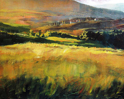 Tuscany Vineyard Oil Painting - Tuscan Hillside by Christopher Clark