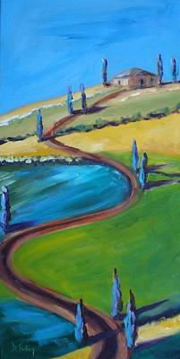 Tuscan Hills Painting - Tuscan Hillside by Donna Tuten