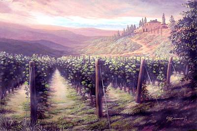 Tuscan Sunset Painting - Tuscan Landscape by Georgann Micono