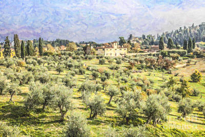 Digital Art - Tuscan Landscape by Liz Leyden