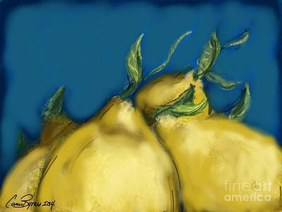 Tuscan Digital Art - Tuscan Lemons by Carrie Joy Byrnes