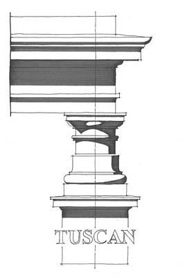 Vitruvius Drawing - Tuscan Order by Calvin Durham