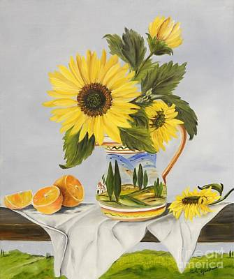 Italian Landscapes Painting - Tuscan Pitcher And Sunflowers by Carol Sweetwood