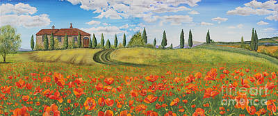 Italian Landscapes Painting - Tuscan Poppies-jp1968 by Jean Plout