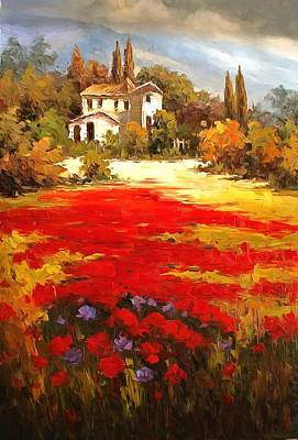 Poppies Field Painting - Tuscan Poppy Fields  by Studio Artist