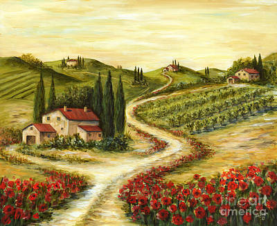 Flower Fields Painting - Tuscan Road With Poppies by Marilyn Dunlap