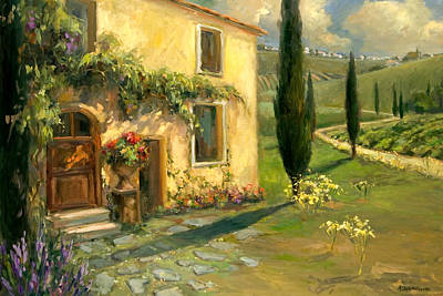 Italy Farmhouse Painting - Tuscan Spring by Allayn Stevens