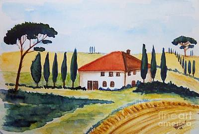 Cypress Painting - Tuscan Spring by Christine Huwer