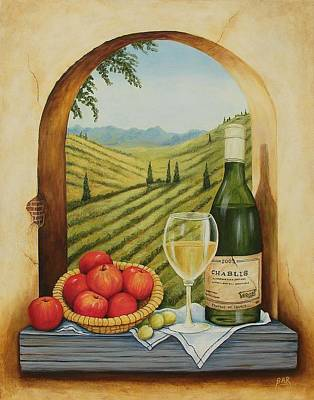 Owls - Tuscan Still Life with Wine and Apples by Barbara Ann Robertson