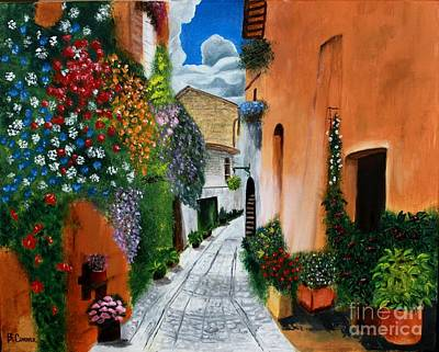 Art Print featuring the painting Tuscan Street Scene by Bev Conover