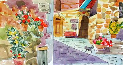 Tuscan Street Scene Art Print