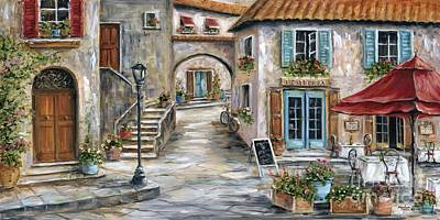 Awnings Painting - Tuscan Street Scene by Marilyn Dunlap