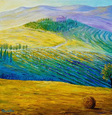 Tuscan Hills Painting - Tuscan Summer by Bozena Zajiczek-Panus