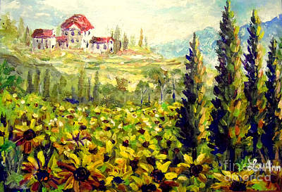Tuscan Sunflowers Painting - Tuscan Sunflowers by Lou Ann Bagnall