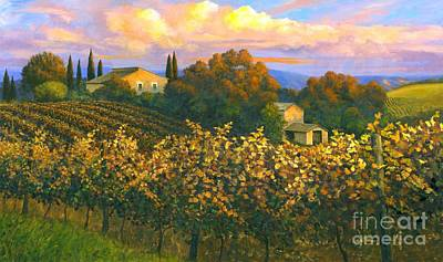 Wine Barrel Painting - Tuscan Sunset 36 X 60 - Sold by Michael Swanson