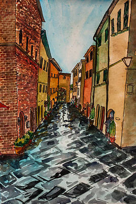 Painting - Tuscan Town by Lee Stockwell